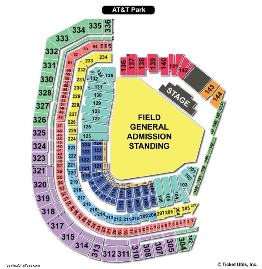 At T Park Seating Chart Concert