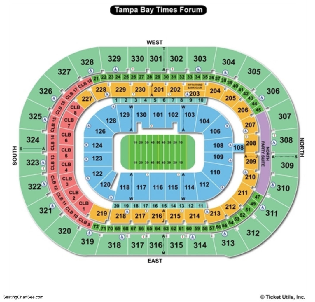Amalie Arena Seating Chart Football