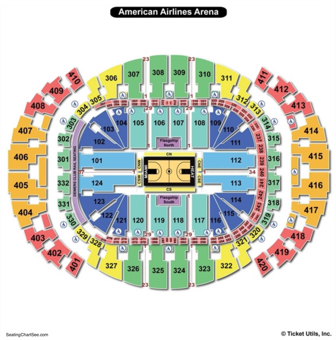 american airlines arena basketball seating chart