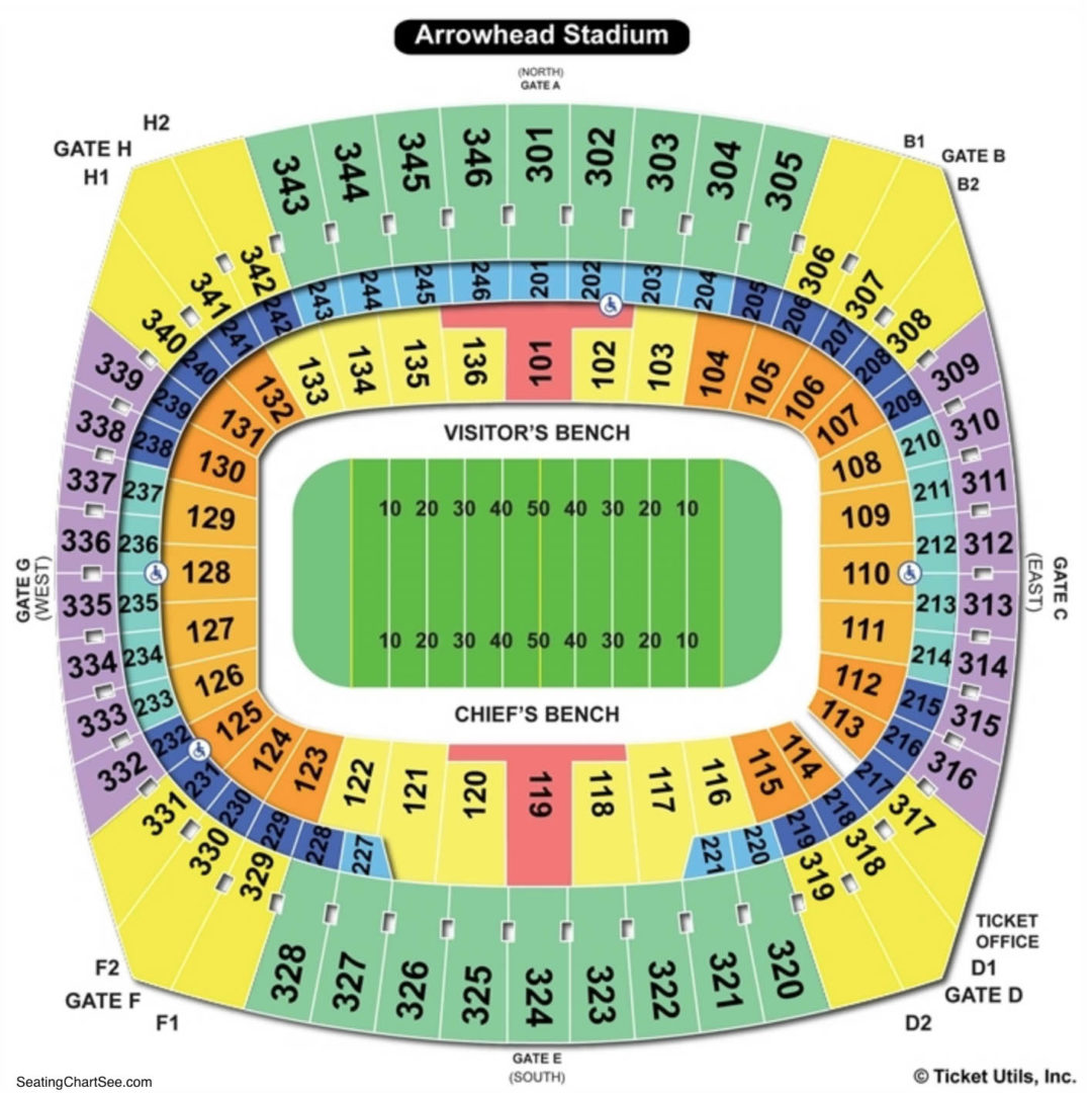 Arrowhead stadium seating chart seating charts tickets