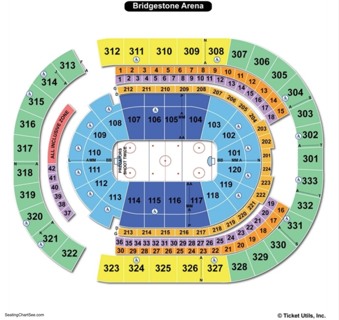 Bridgestone arena seating chart seating charts tickets