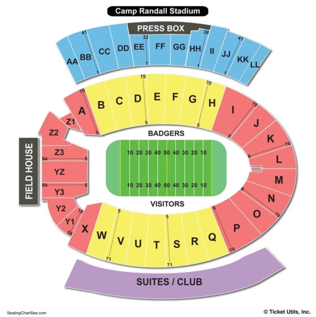 camp randall stadium seating chart seating charts tickets. Black Bedroom Furniture Sets. Home Design Ideas