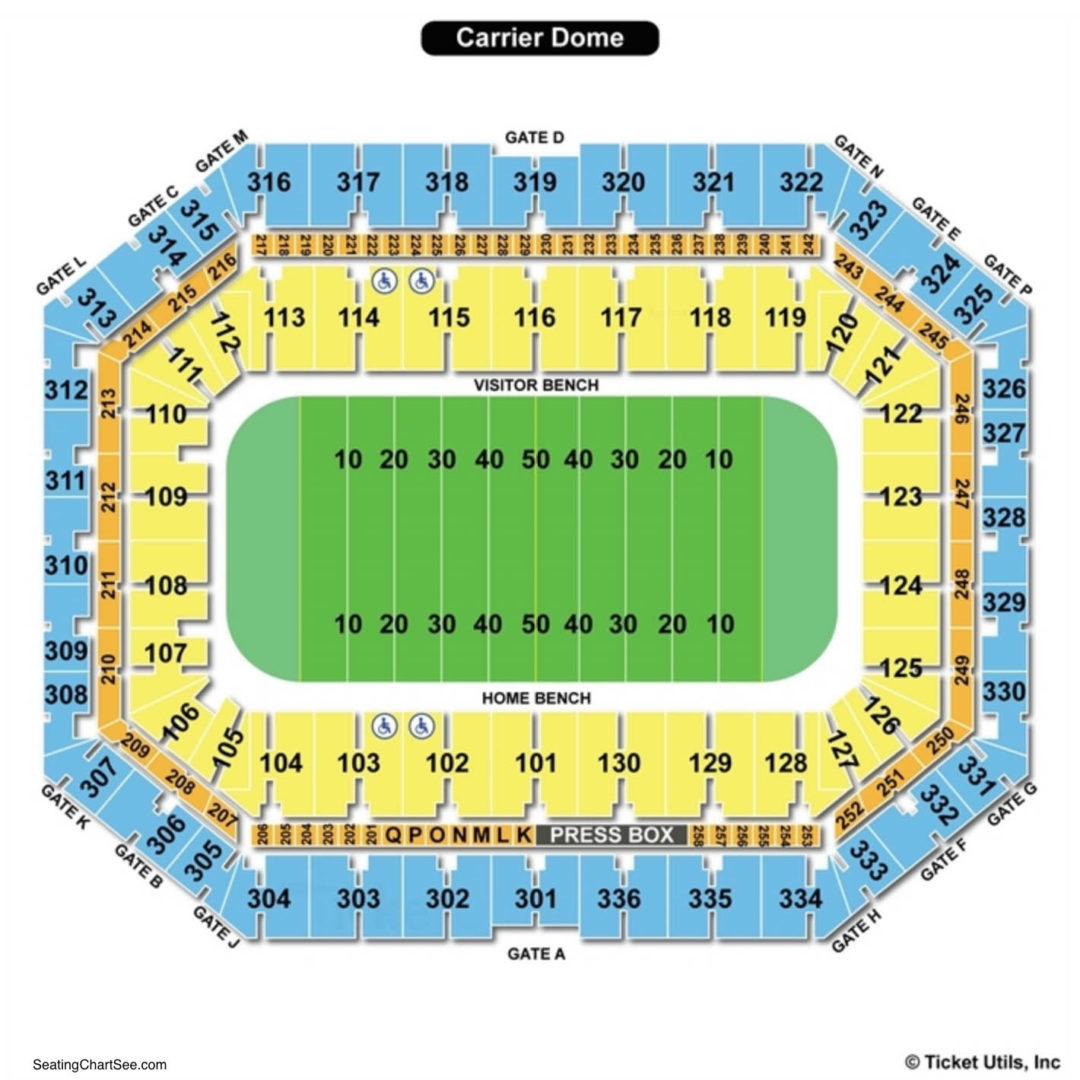 Carrier Dome Seating Chart | Seating Charts & Tickets on sanford stadium seating map, carrier dome seat location, u.s. cellular field seating map, chene park seating map, hilton coliseum seating map, xfinity center seating map, mackay stadium seating map, carrier dome tailgating, carrier dome events, carrier dome staff, gampel pavilion seating map, fedex forum seating map, joyce center seating map, us bank arena seating map, cameron indoor seating map, alumni hall seating map, hinkle fieldhouse seating map, valley view casino center seating map, carrier dome information, ryan field seating map,