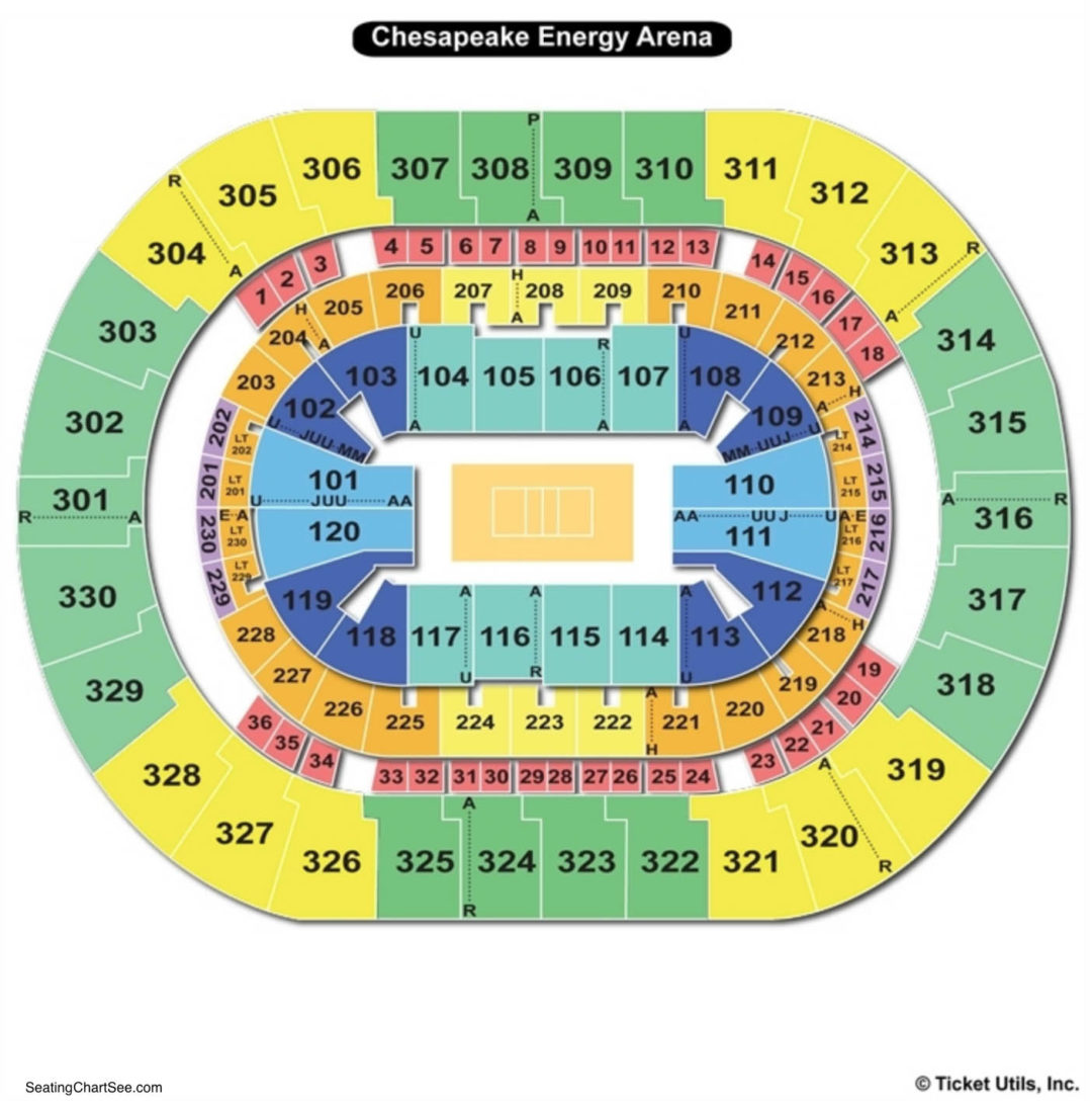 Chesapeake Energy Arena Seating Chart Seating Charts Tickets