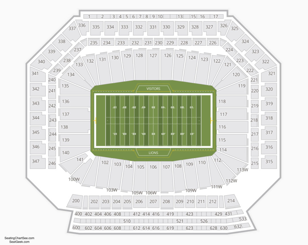 Ford Field Seating Chart Seating Charts Tickets