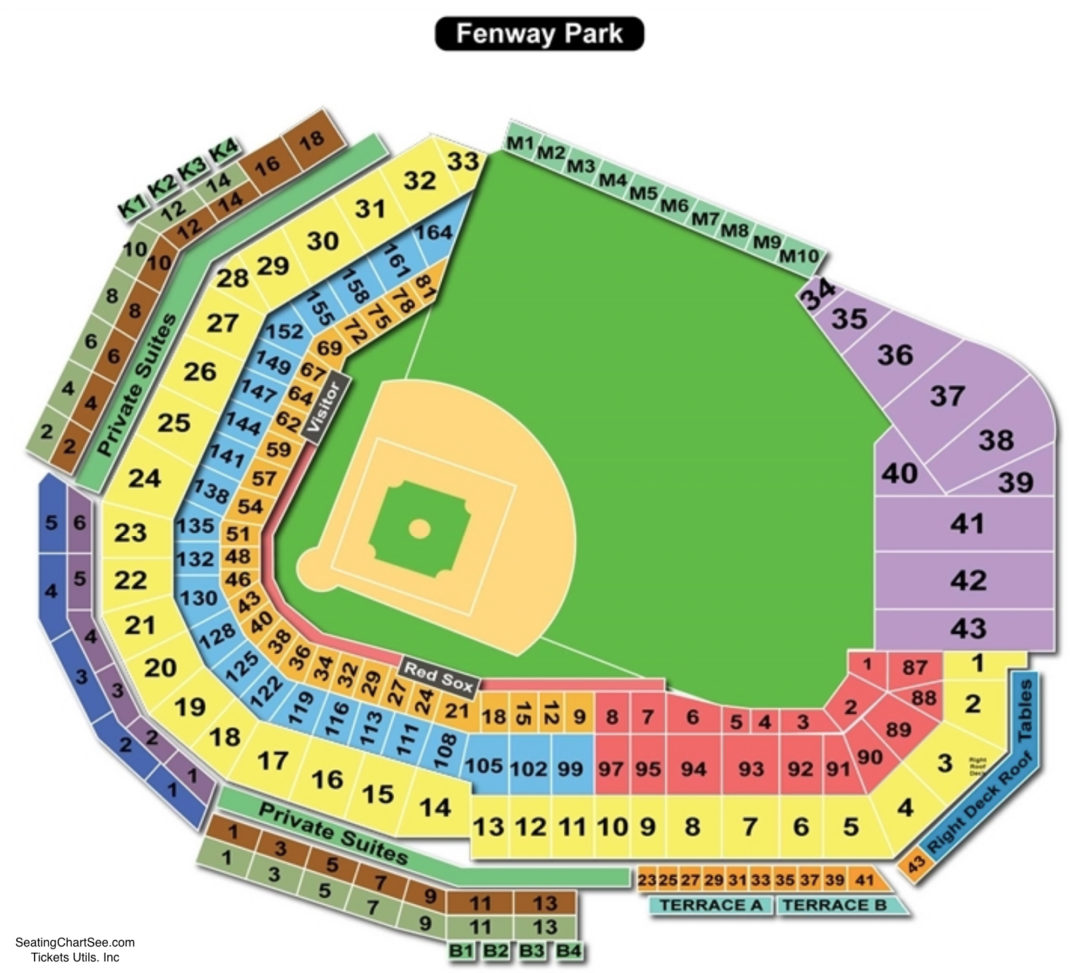 Fenway park seating chart seating charts tickets