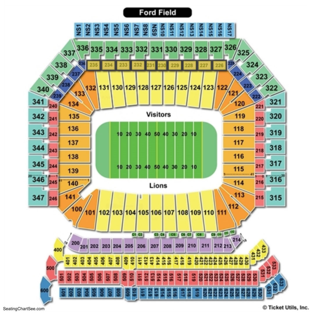 Ford Field Seating Chart Charts Tickets. Ford Field Football Seating Chart. Ford. How Many Seats Per Row Ford Field Seating Diagram At Scoala.co