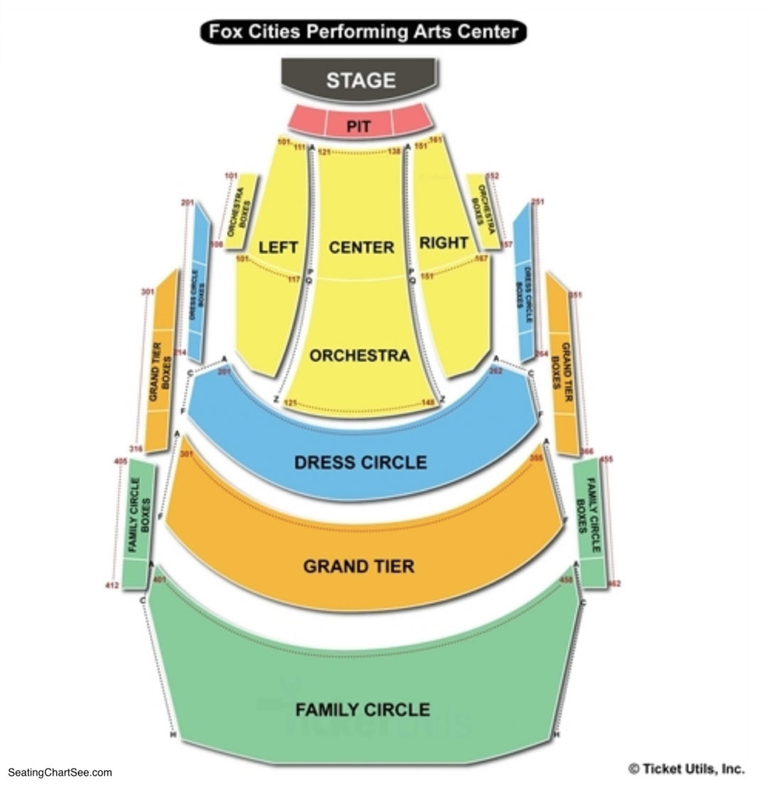 Fox Cities Performing Arts Center Seating Chart Seating