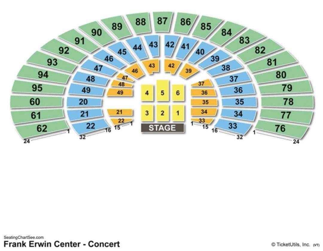 Frank Erwin Center Seating Chart Seating Charts Tickets