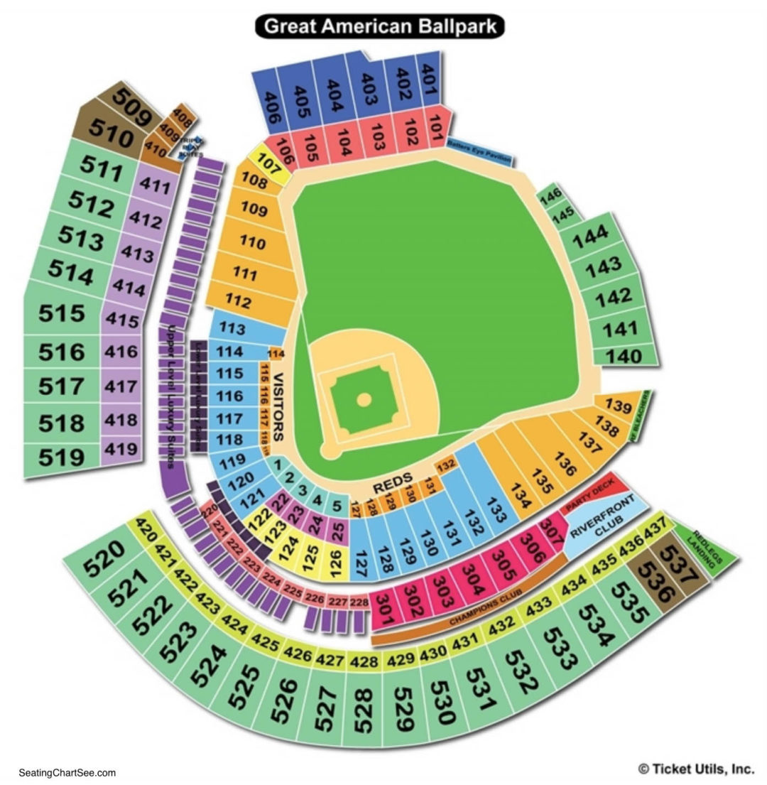 Great american ball park seating chart seating charts tickets