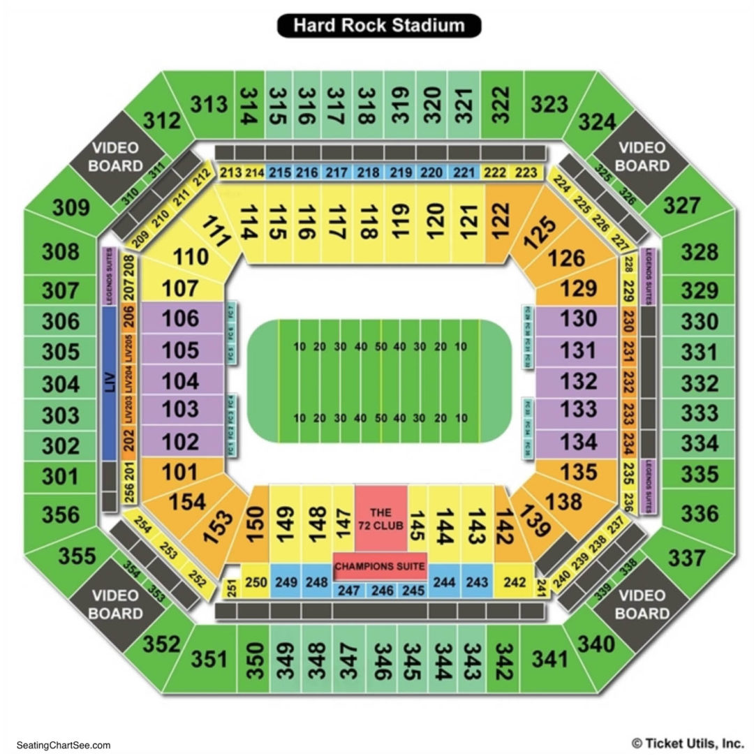 hard rock stadium seating chart | seating charts & tickets