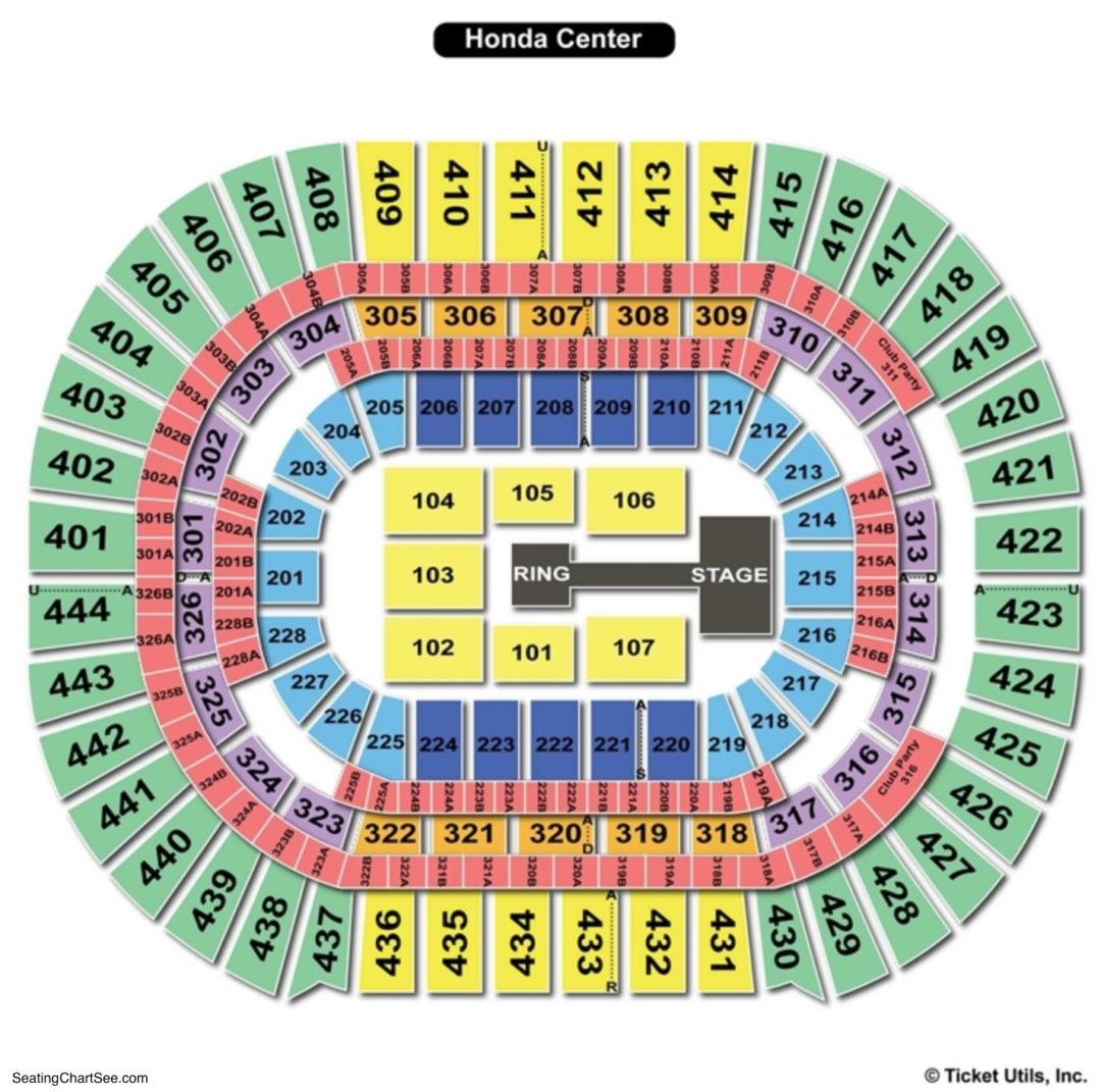 Honda Center Seating Chart Wwe