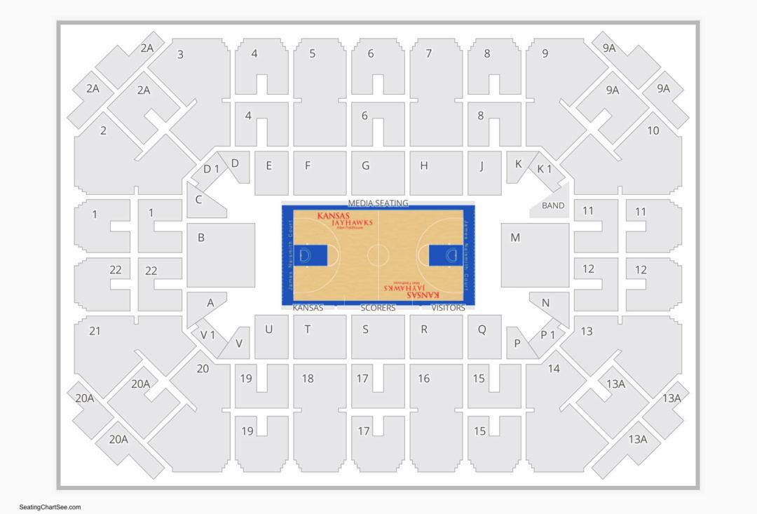 Kansas Jayhawks Basketball Seating Chart Allen Fieldhouse