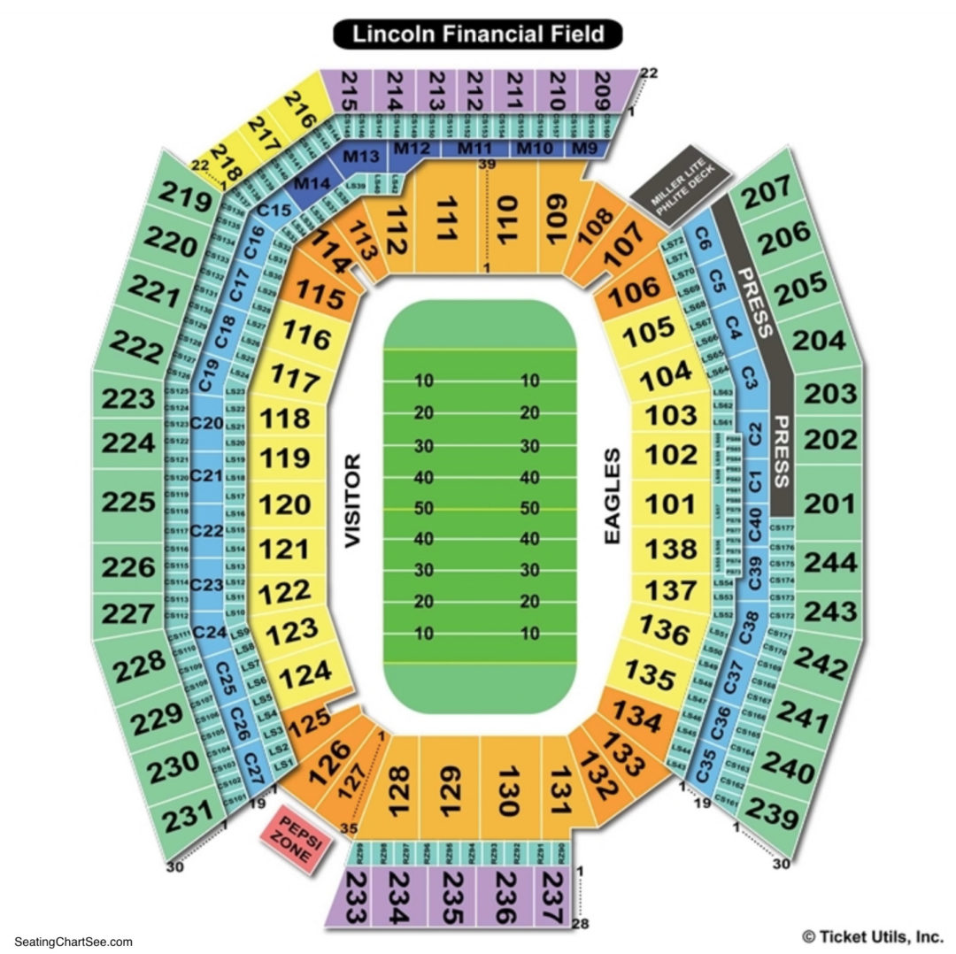 Lincoln financial field seating chart seating charts tickets