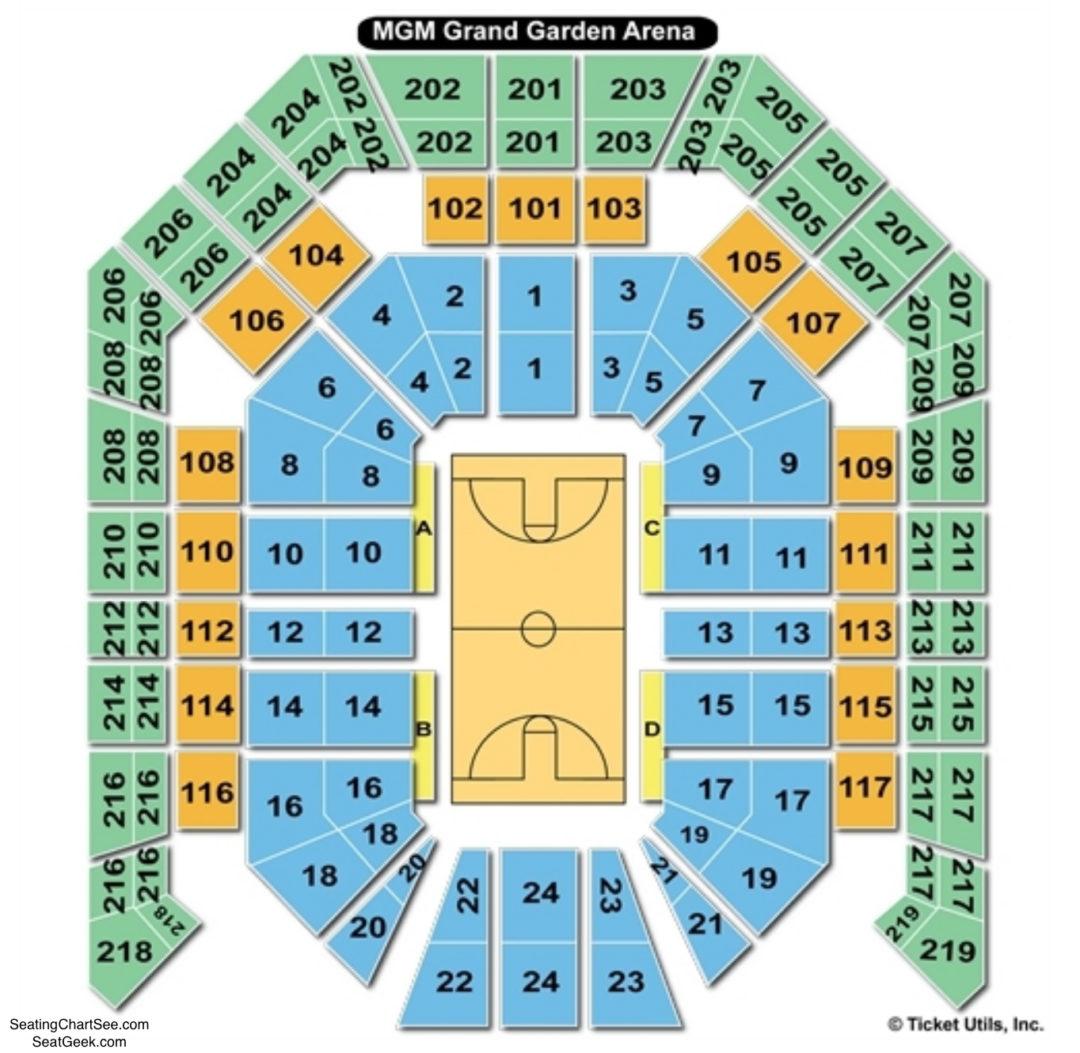 MGM Grand Garden Arena Basketball Seating Chart