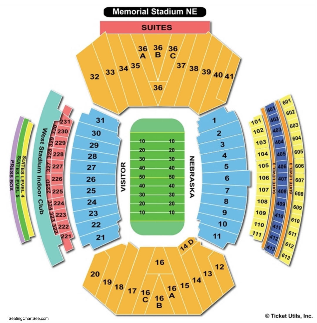 Memorial stadium nebraska seating chart seating charts tickets