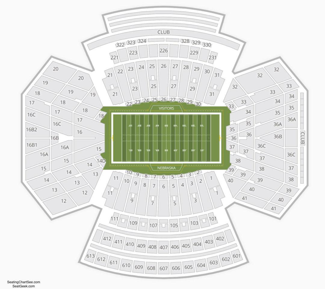 Nebraska Cornhuskers Football Seating Chart Memorial Stadium Information