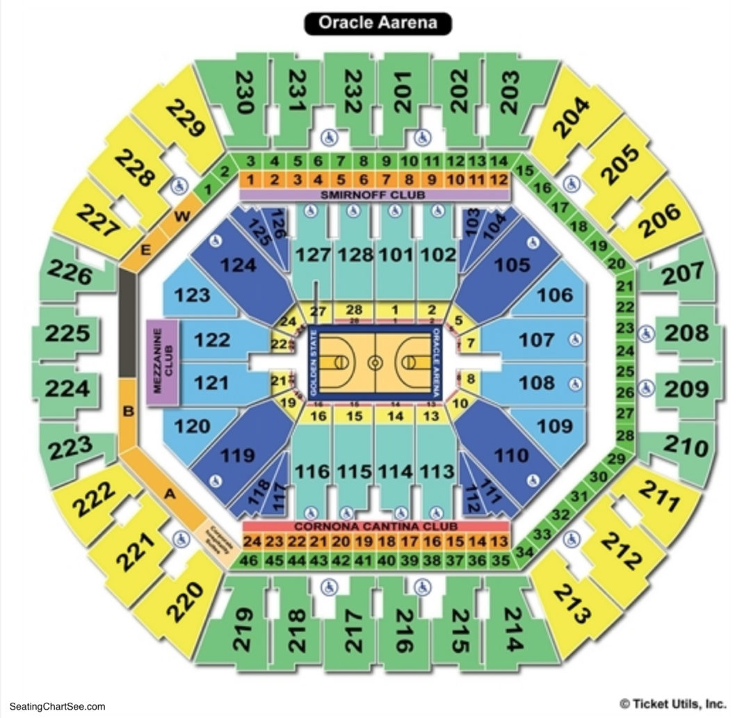 Oracle arena seating chart seating charts tickets