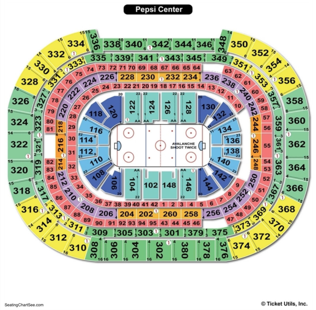 Pepsi center seating chart seating charts tickets