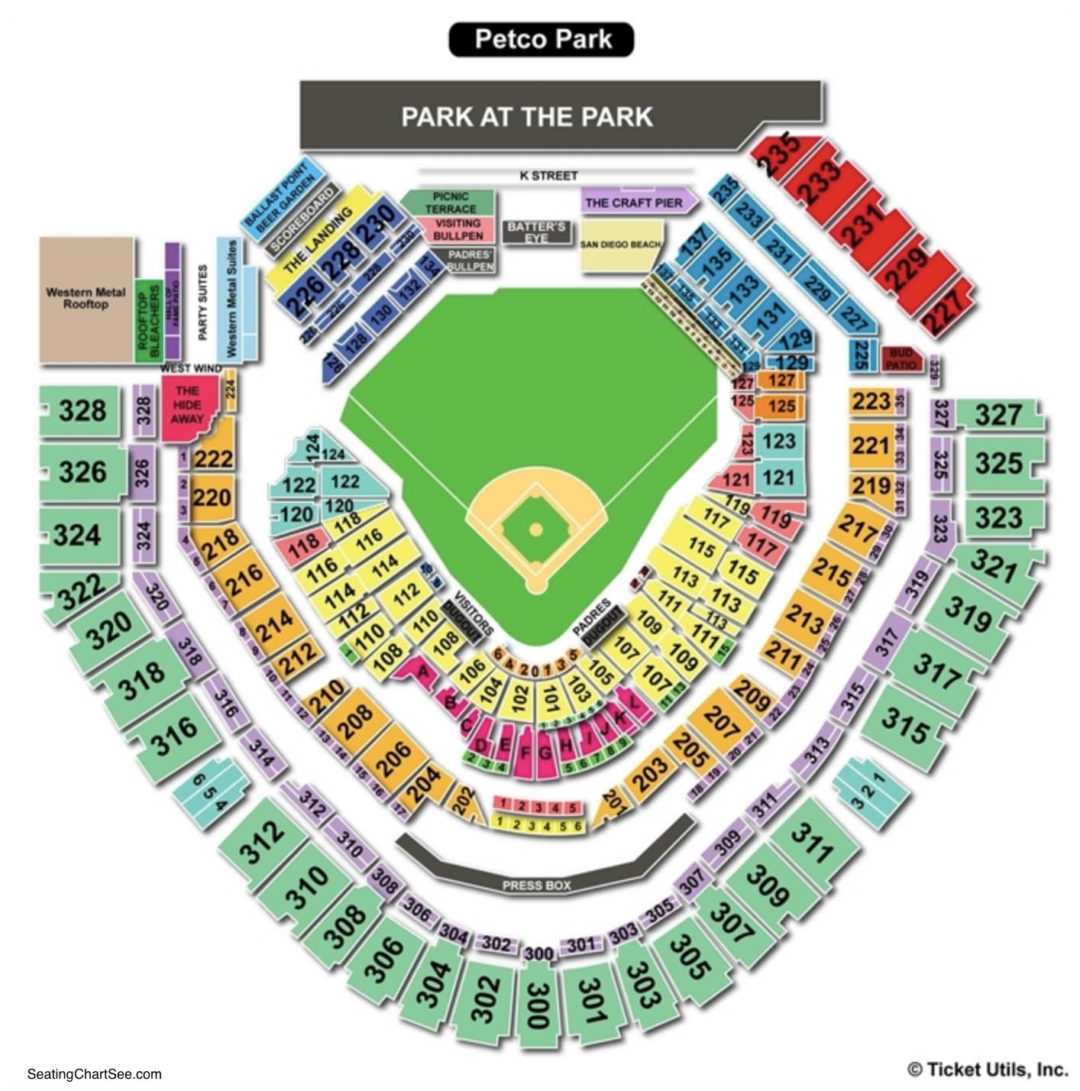 Petco park seating chart seating charts tickets