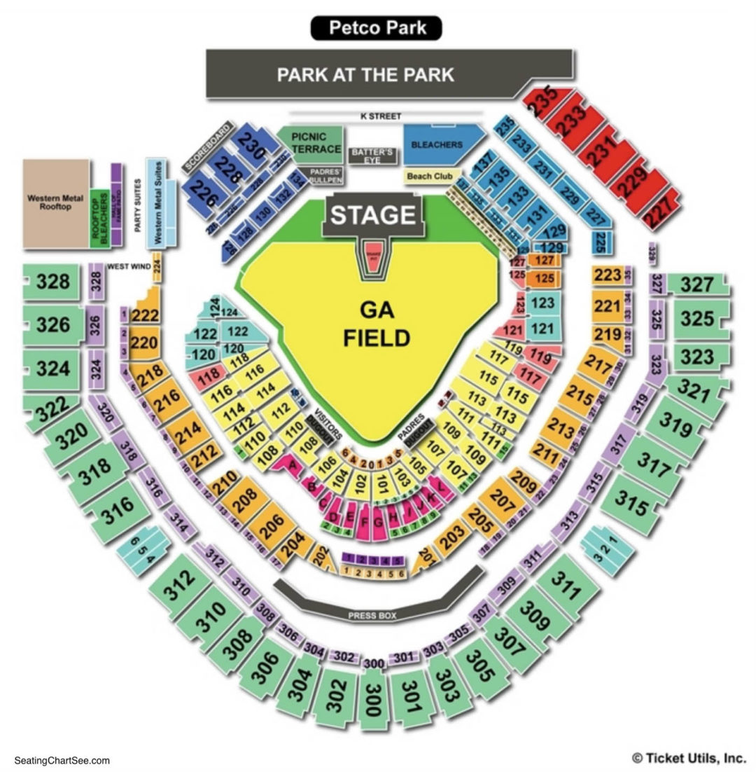 Petco Park Seat Map Petco Park Seating Chart | Seating Charts & Tickets