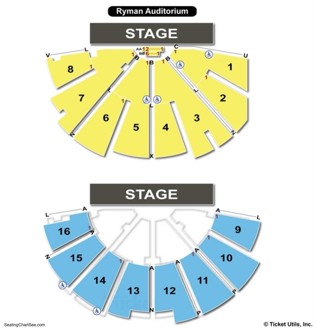 Ryman auditorium seating chart seating charts tickets