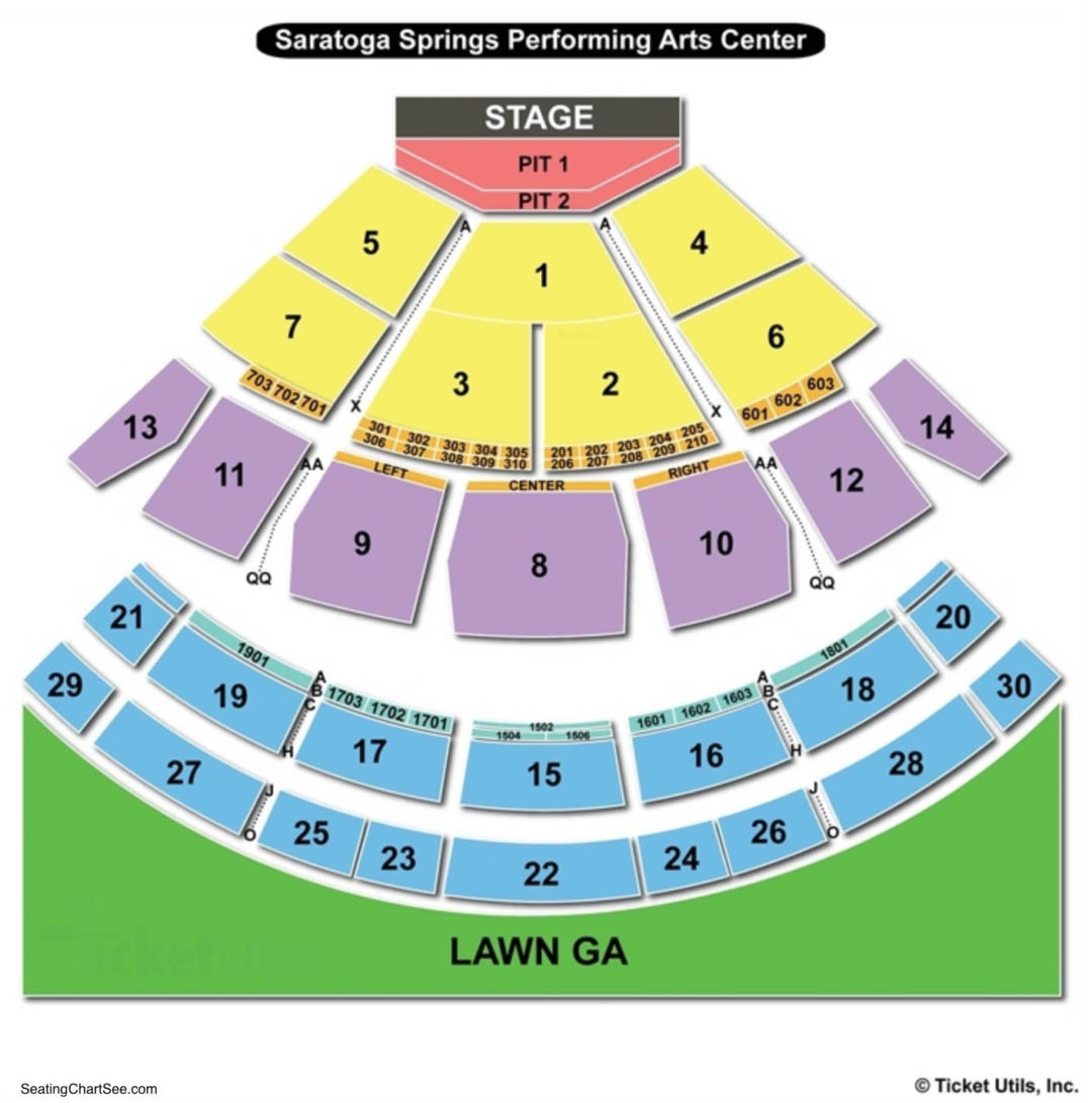 Saratoga performing arts center spac seating chart seating