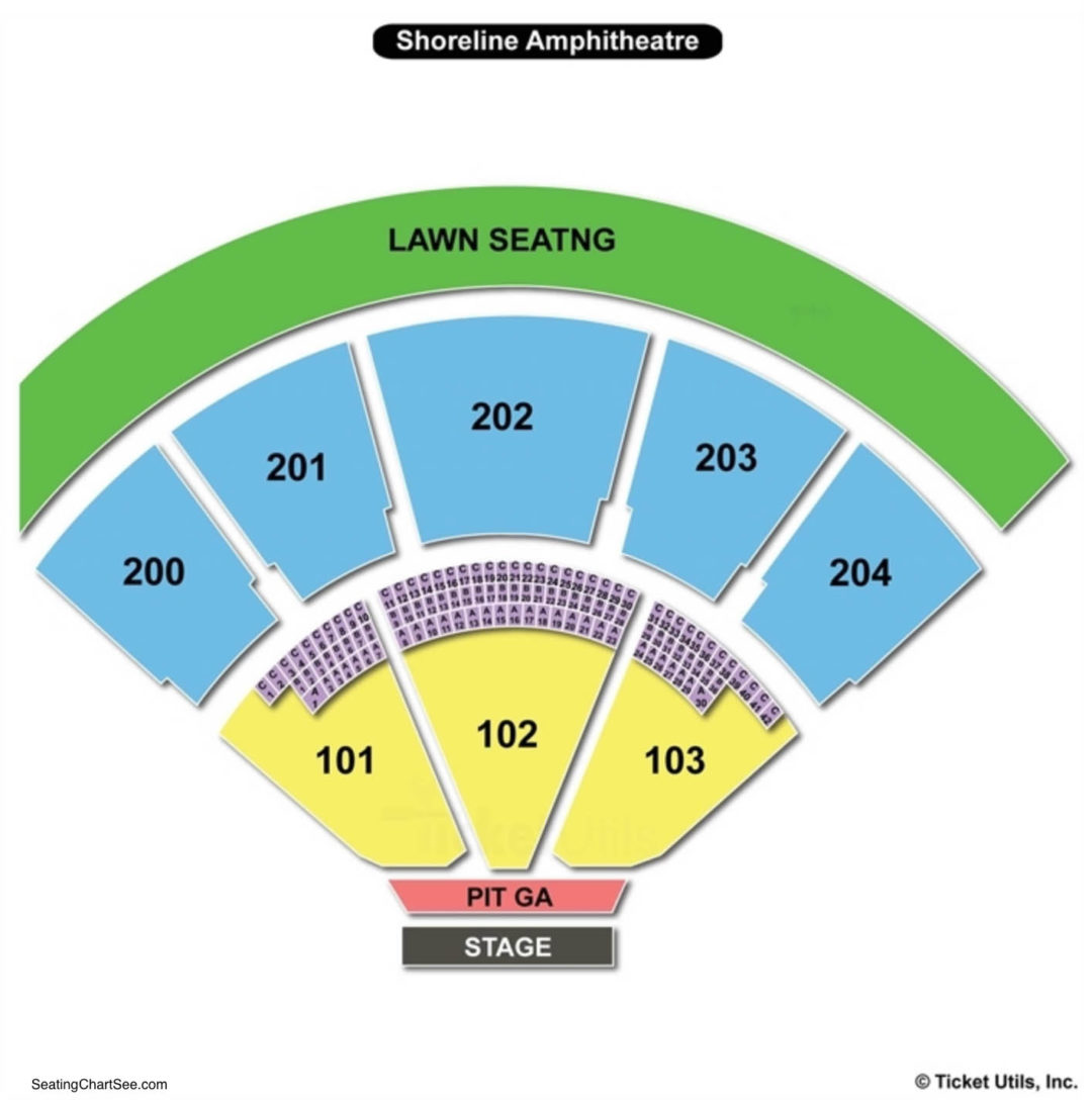 Shoreline amphitheatre seating chart seating charts tickets