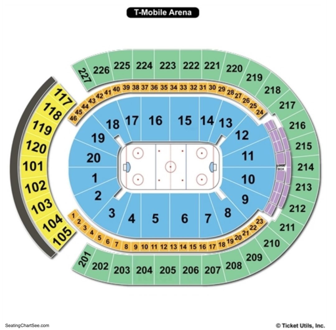 T Mobile Arena Seating Chart Hockey