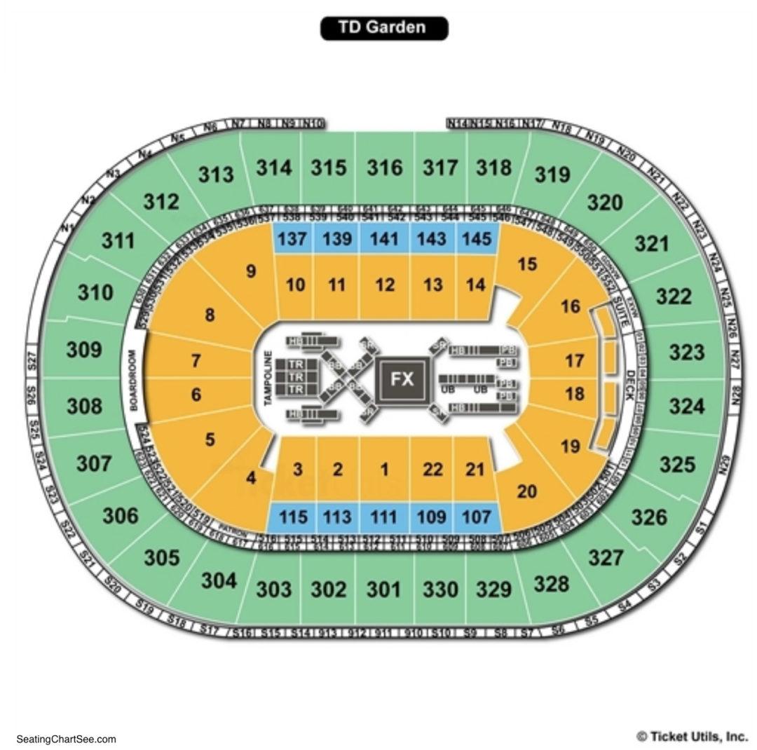 td garden gymnastics seating chart - Td Garden Seating