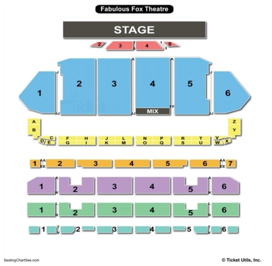 The fabulous fox theatre st louis seating chart seating charts