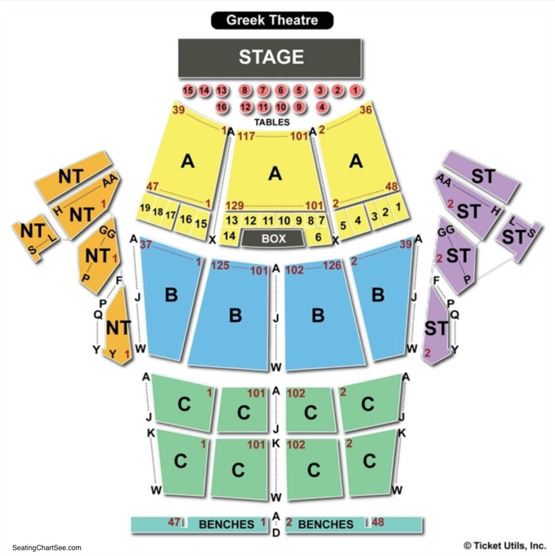 Greek theatre seating chart seating charts tickets