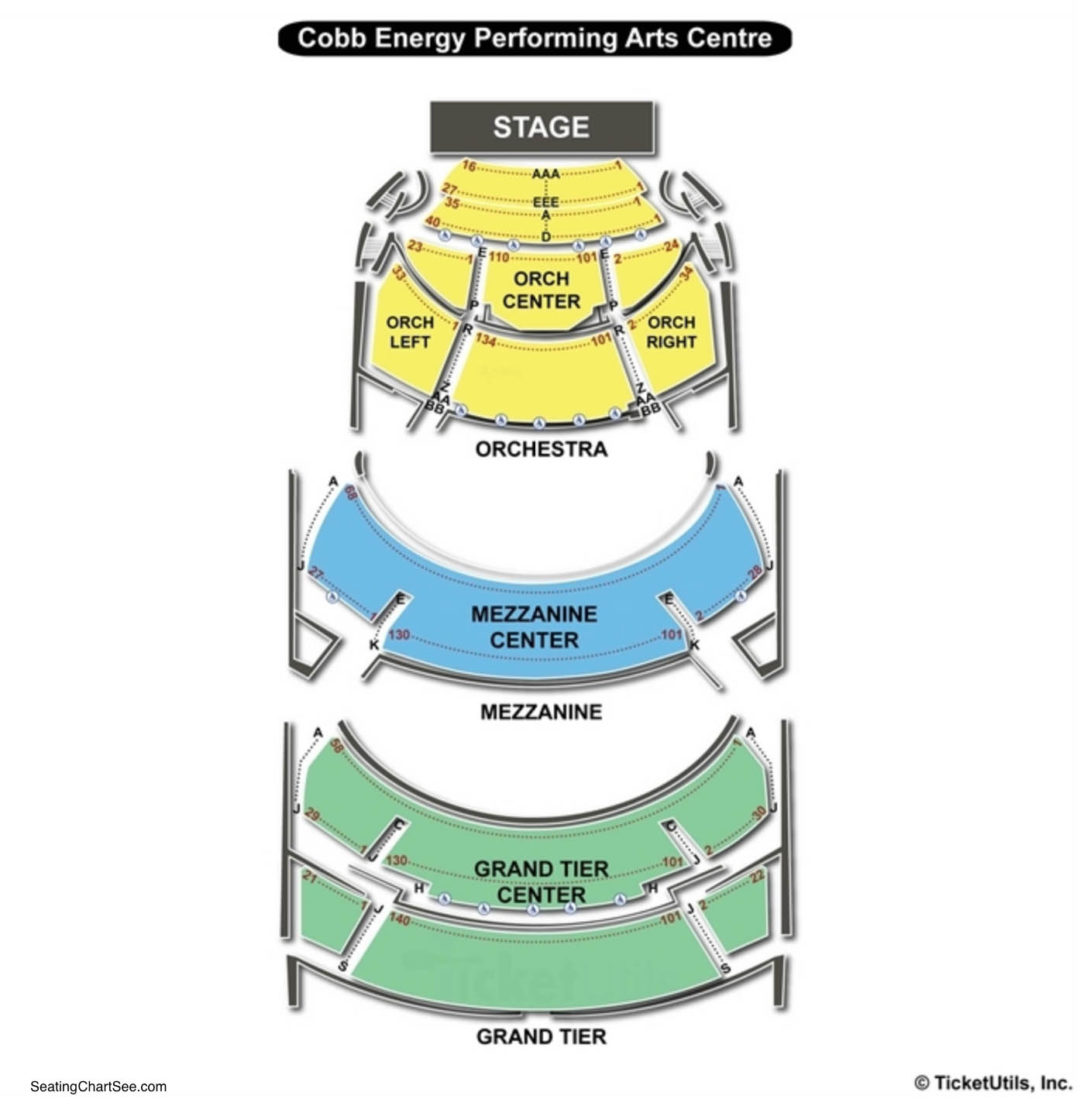 Cobb energy performing arts centre seating chart seating charts