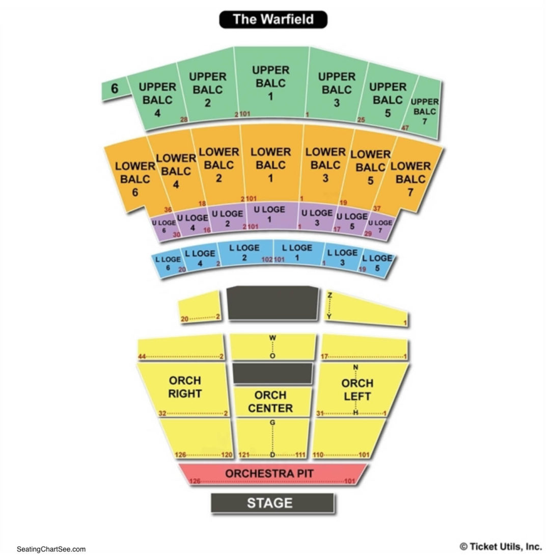 The warfield theatre seating chart seating charts tickets