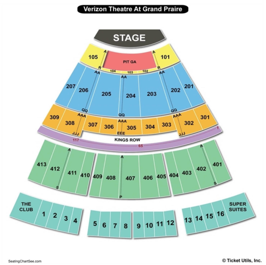 Verizon theatre at grand prairie seating chart seating charts