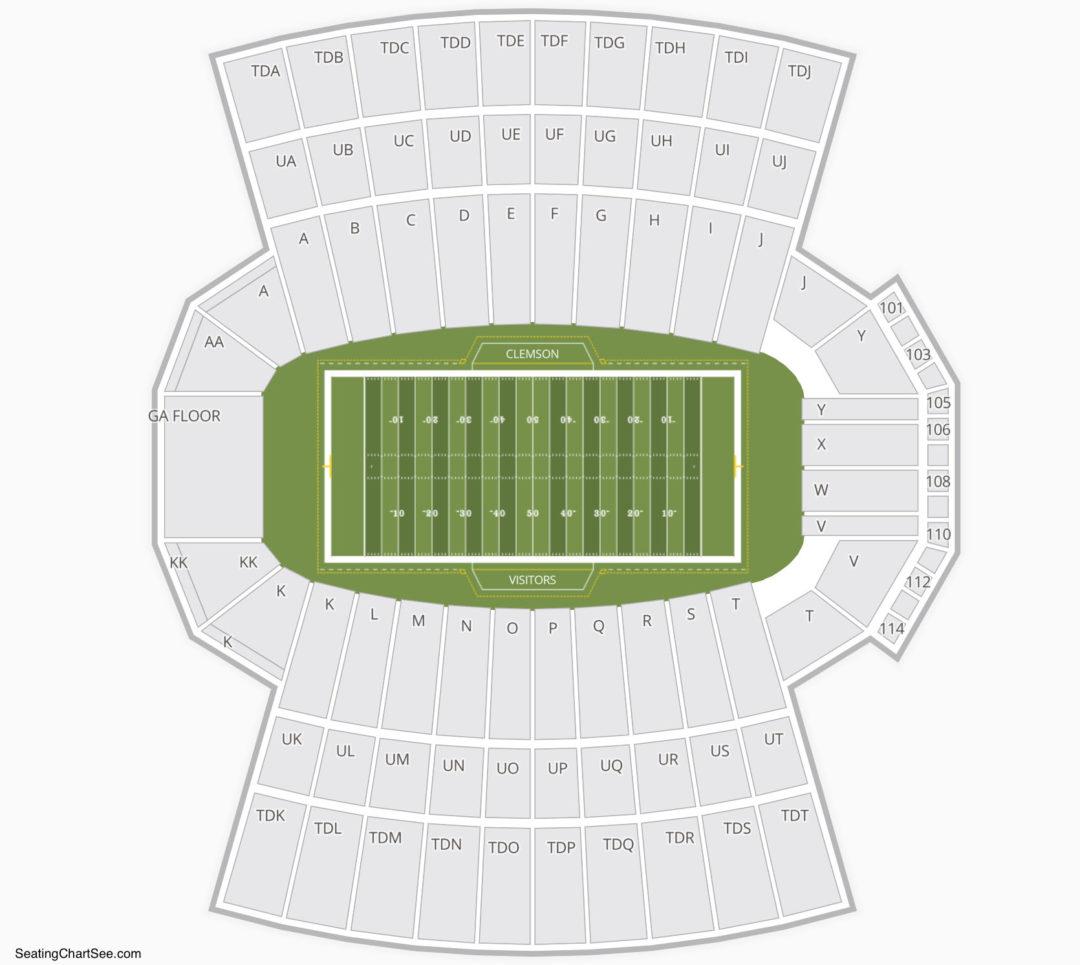 Clemson Tigers Football Seating Chart Memorial Stadium