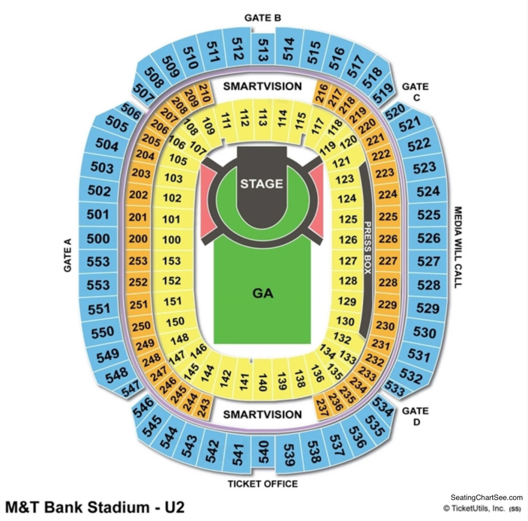 M Amp T Bank Stadium Seating Chart Seating Charts Amp Tickets