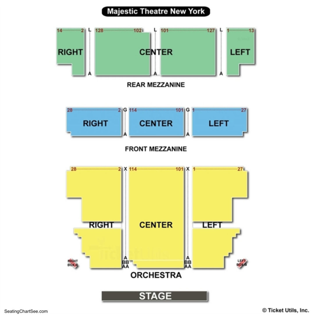 Majestic Theatre New York Seating Chart Seating Charts