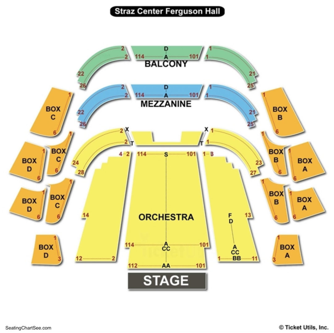 Straz center ferguson hall seating chart seating charts tickets