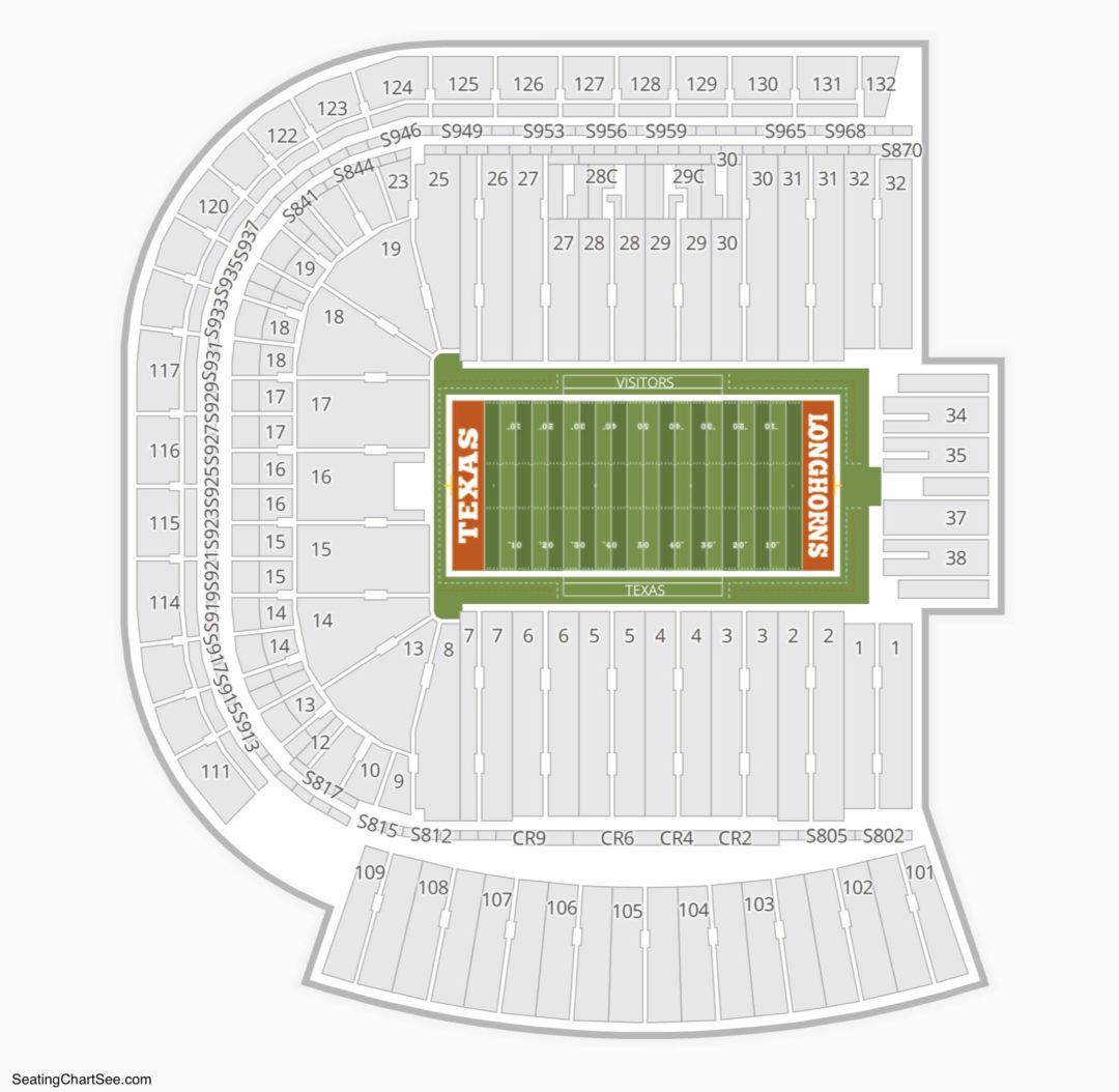 Texas Longhorns Football Seating Chart Darrell K Royal Memorial Stadium