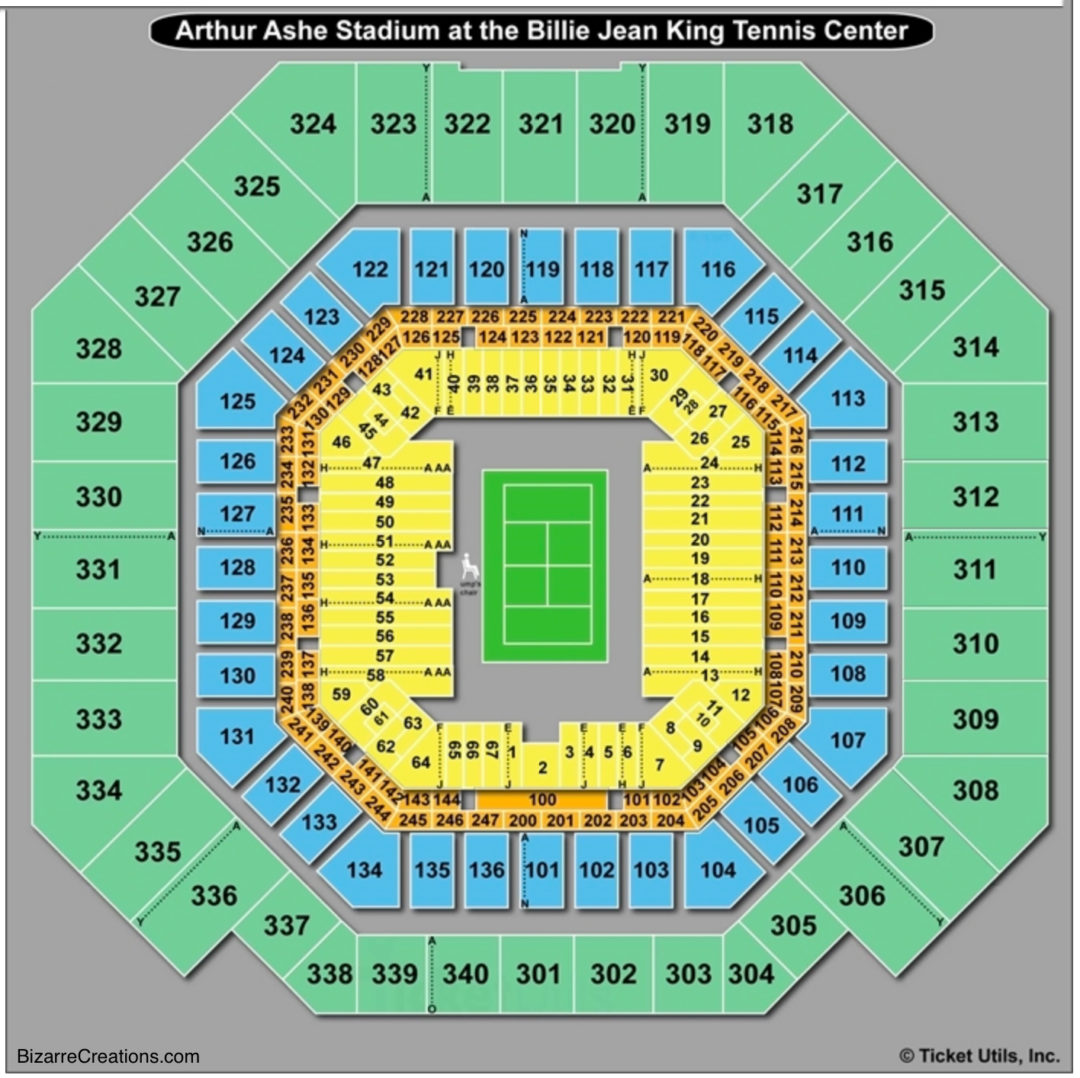 Seating chart arthur ashe stadium ny elcho table