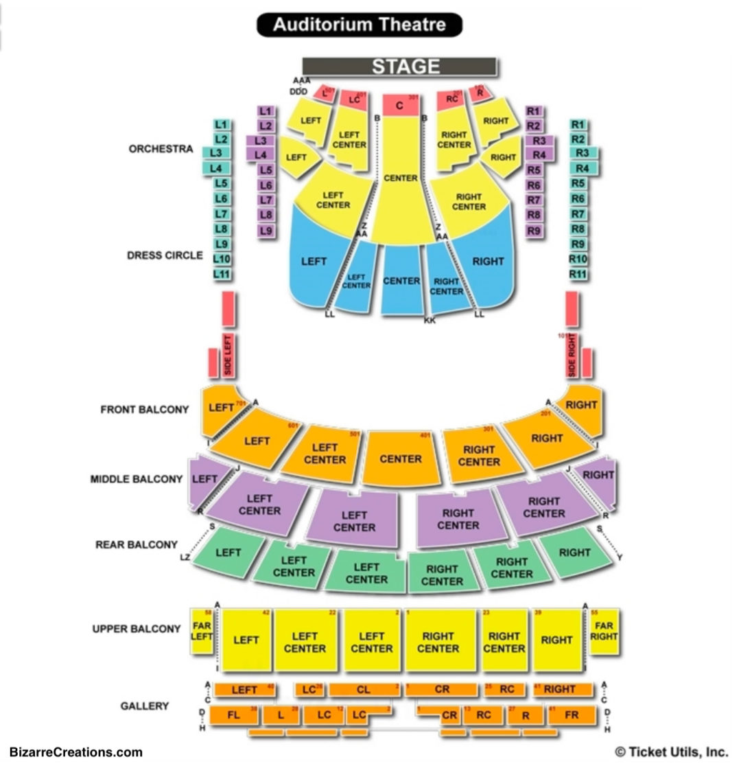 Auditorium theatre seating chart seating charts tickets