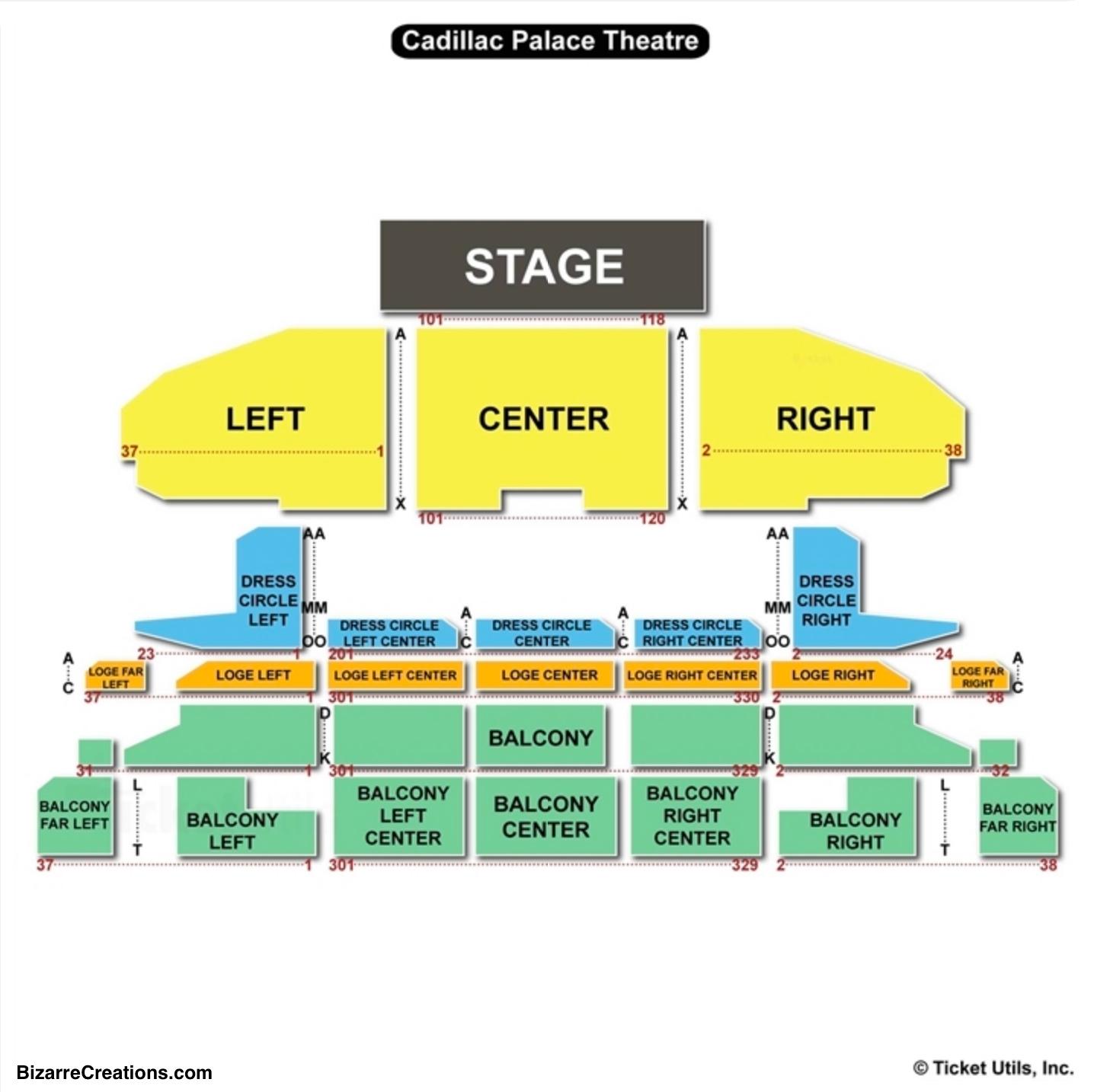 Cadillac Theater Chicago Seating Chart Cadillac Palace
