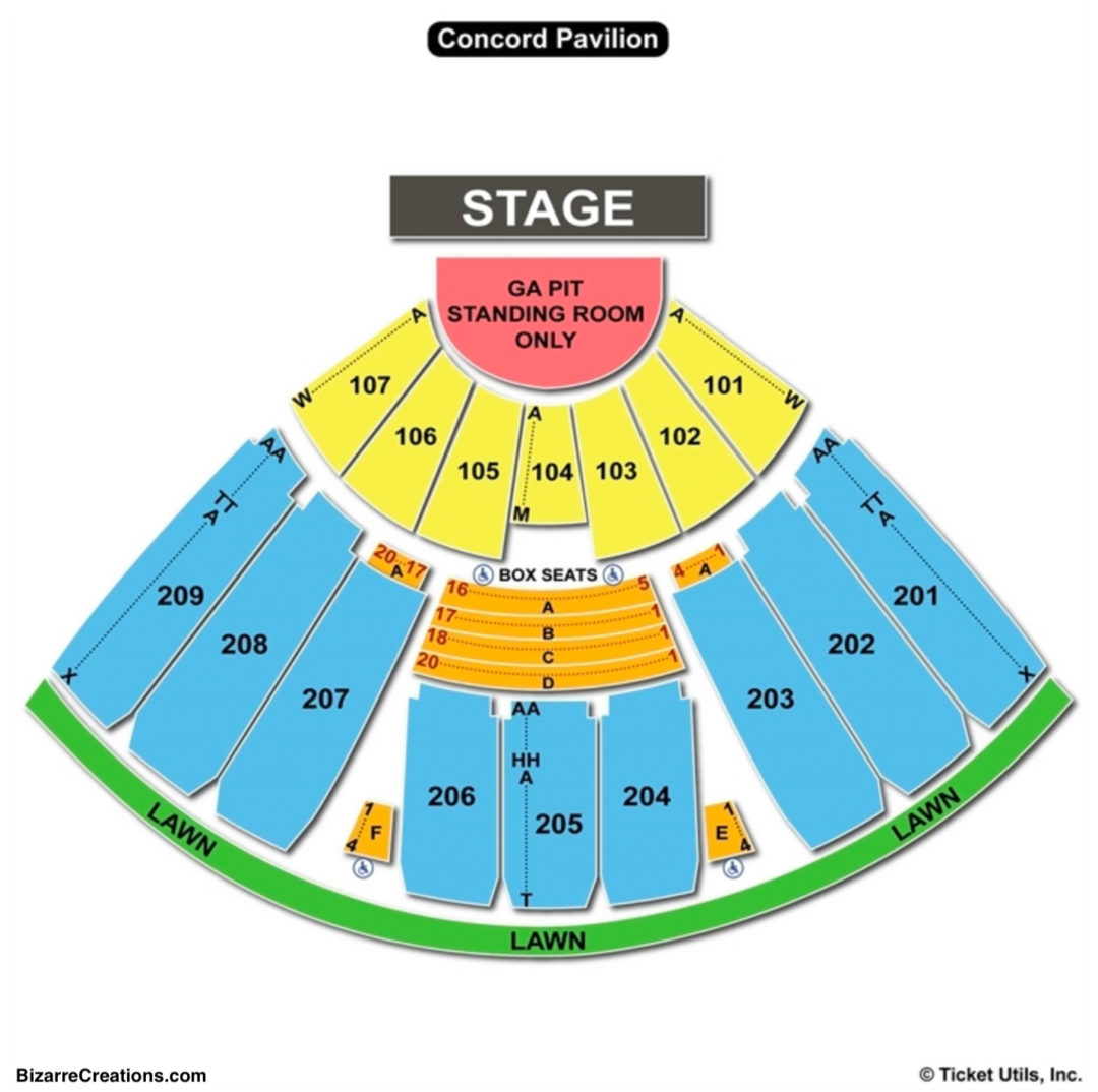 Concord pavilion seating chart seating charts tickets