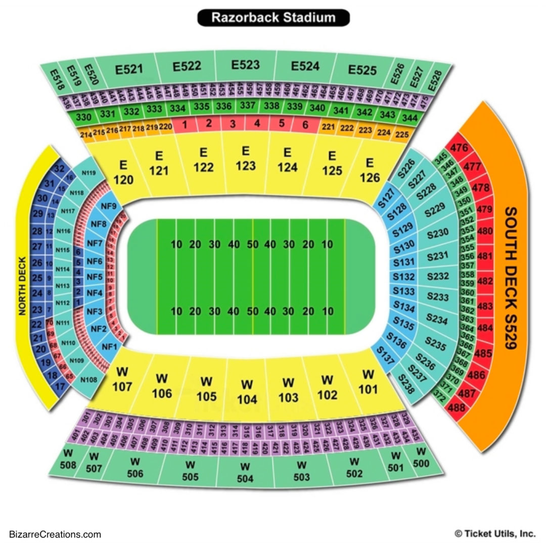 Donald w reynolds razorback stadium seating chart seating charts