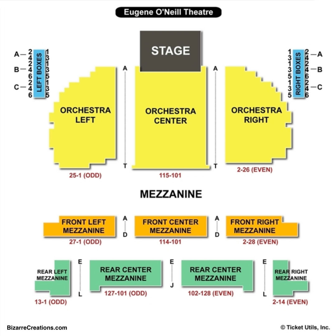 Eugene Oneill Theatre Seating Chart Seating Charts Tickets