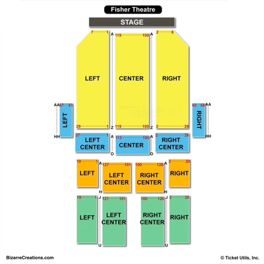 Fisher theatre seating chart seating charts tickets