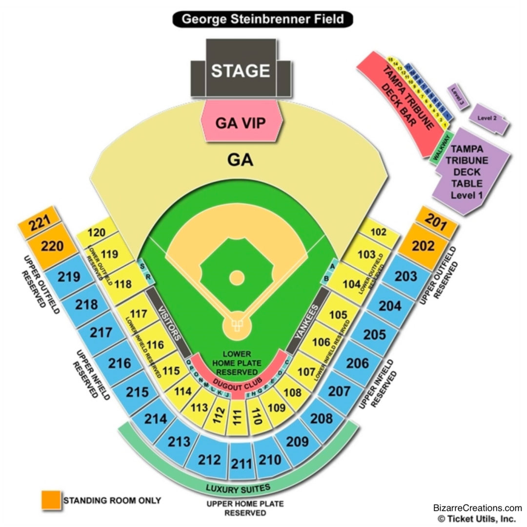 George m steinbrenner field seating chart seating charts tickets
