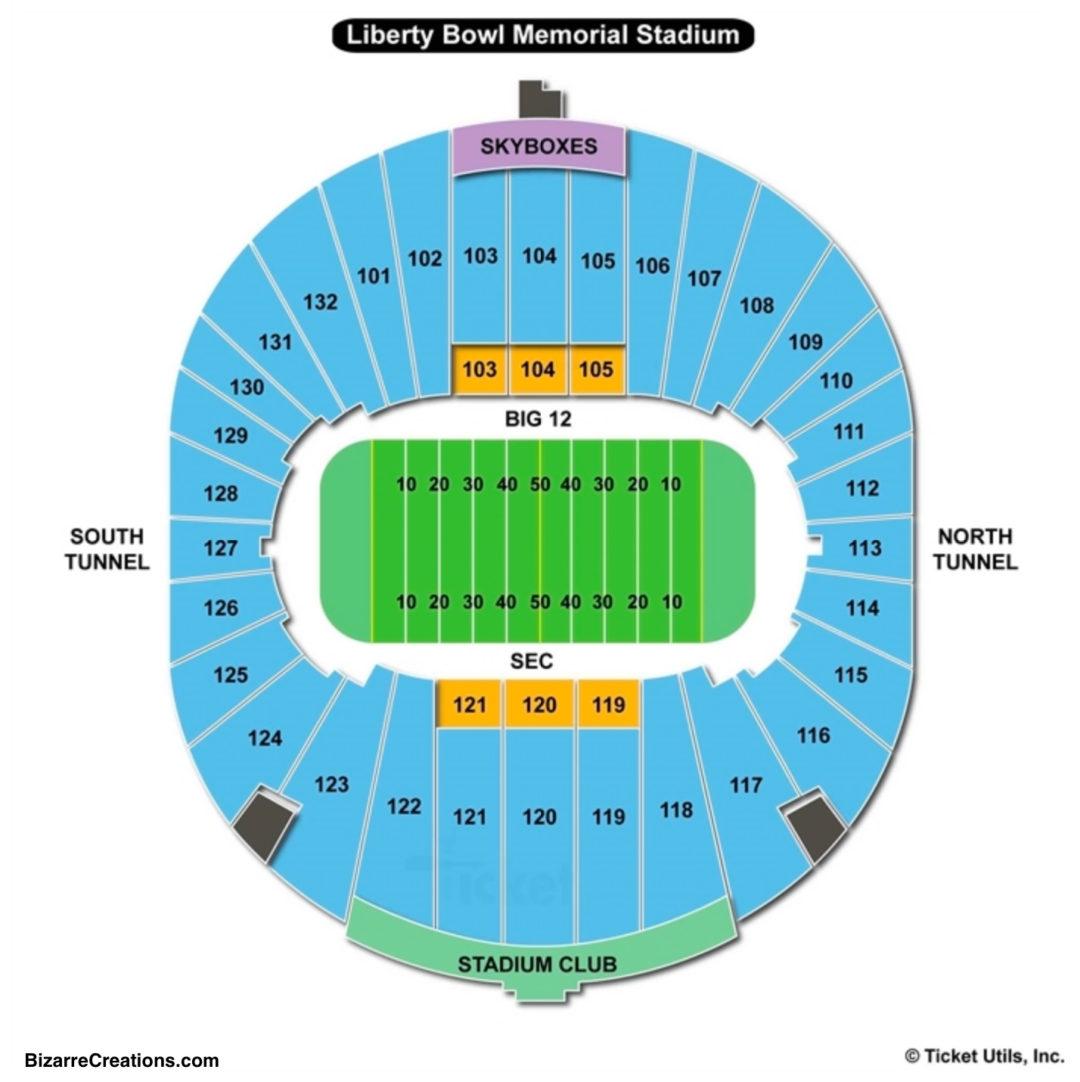 Liberty Bowl Memorial Stadium Seating Chart Memphis