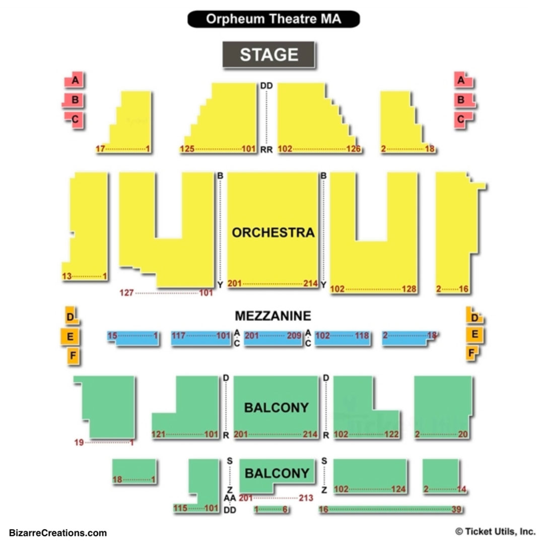 Orpheum theatre boston seating chart seating charts tickets